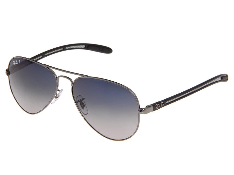 Ray-Ban - RB8307 Aviator Tech Polarized 58 (Gunmetal/Crystal Grey Mirror II) Metal Frame Fashion Sunglasses