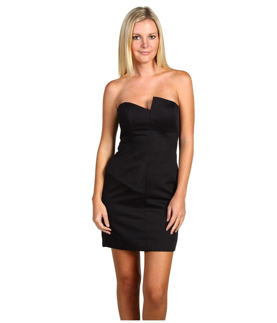 Nicole Miller - Matte Satin Strapless Asymmetrical Dress (Black) Women