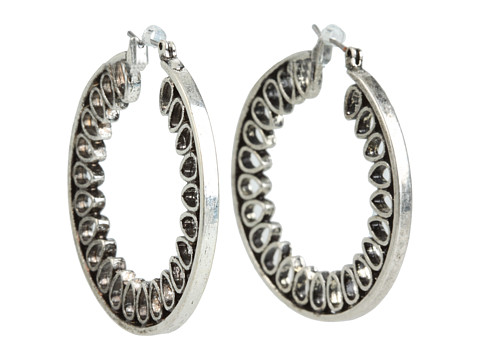 Lucky Brand - Large Teardrop Inlay Hoop (Silver) Earring