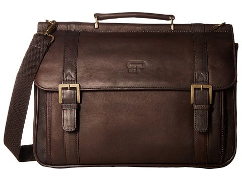 Culture Phit - Leather Dowelrod Portfolio/Computer Case (Brown) Messenger Bags