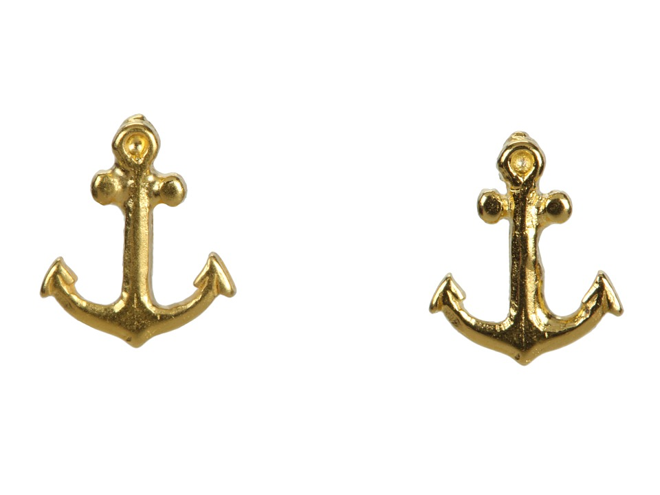 Dogeared - It's The Little Things Anchor Studs (Gold Dipped) Earring
