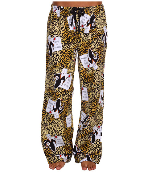 P.J. Salvage - Working Girls! Sanity Is A Sip Away Flannel Pajama Pant (Gold) Women