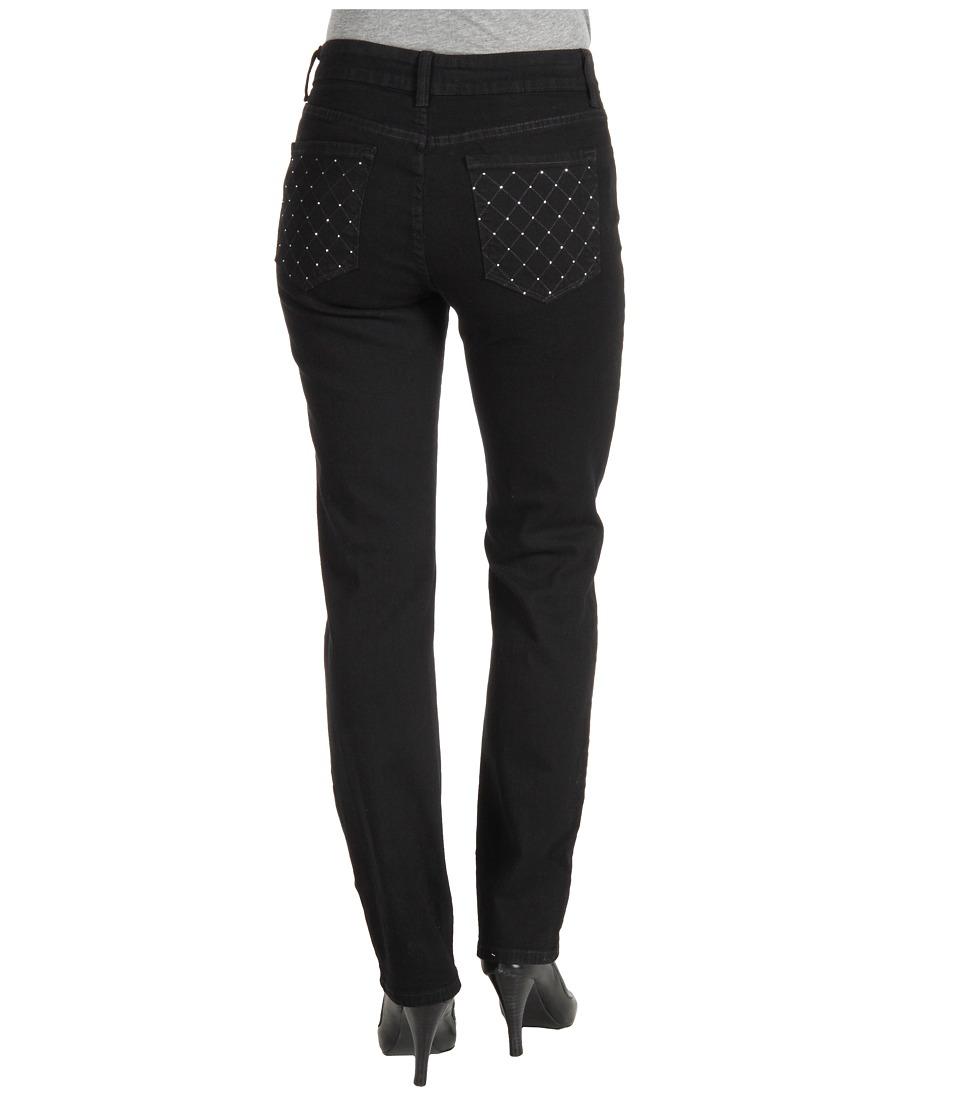 NYDJ - Sheri Skinny w/ Embellished Pocket in Black Overdye (Black) Women's Jeans