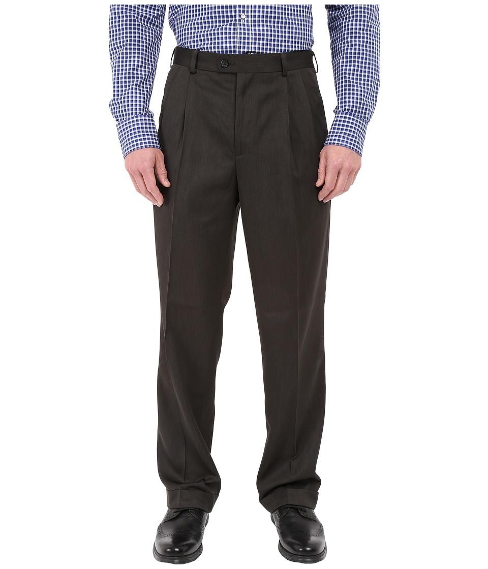 Perry Ellis Portfolio - Classic Fit Double Pleat Micro-Melange Pant (Charcoal) Men's Casual Pants