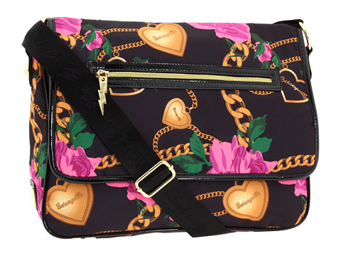 Betseyville - Heart Chain Messenger (Black) Messenger Bags