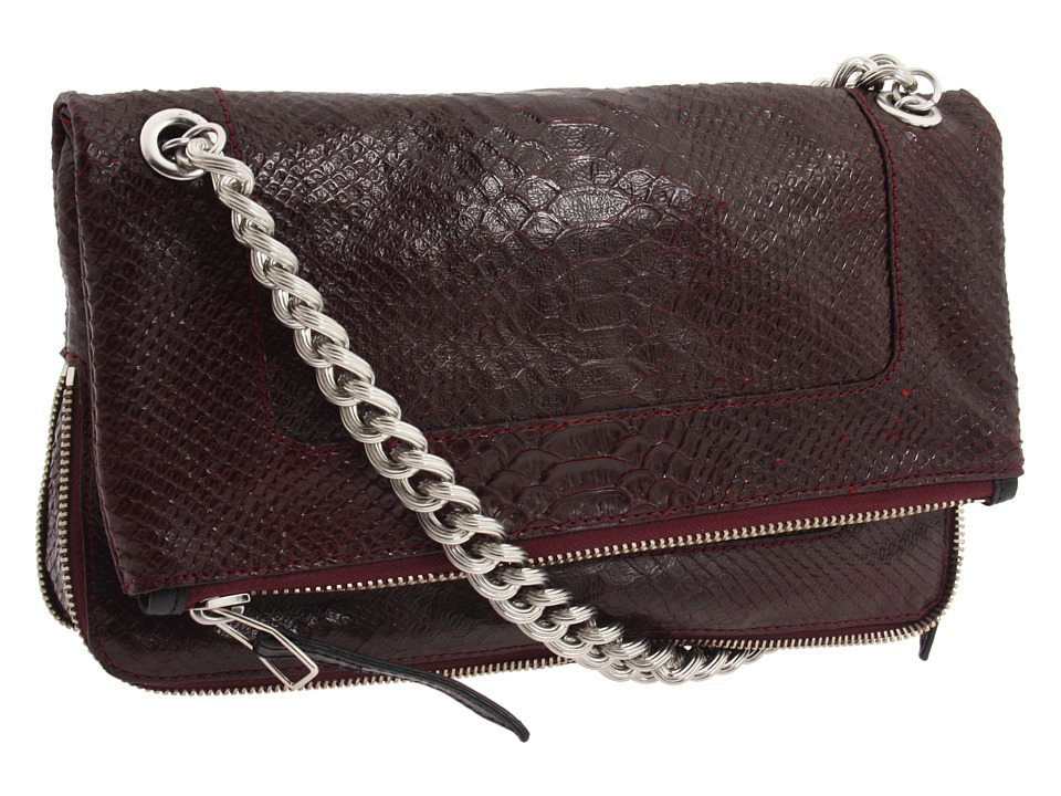 Olivia Harris by Joy Gryson - Python Embossed Fold-over Shoulder (Red) Shoulder Handbags