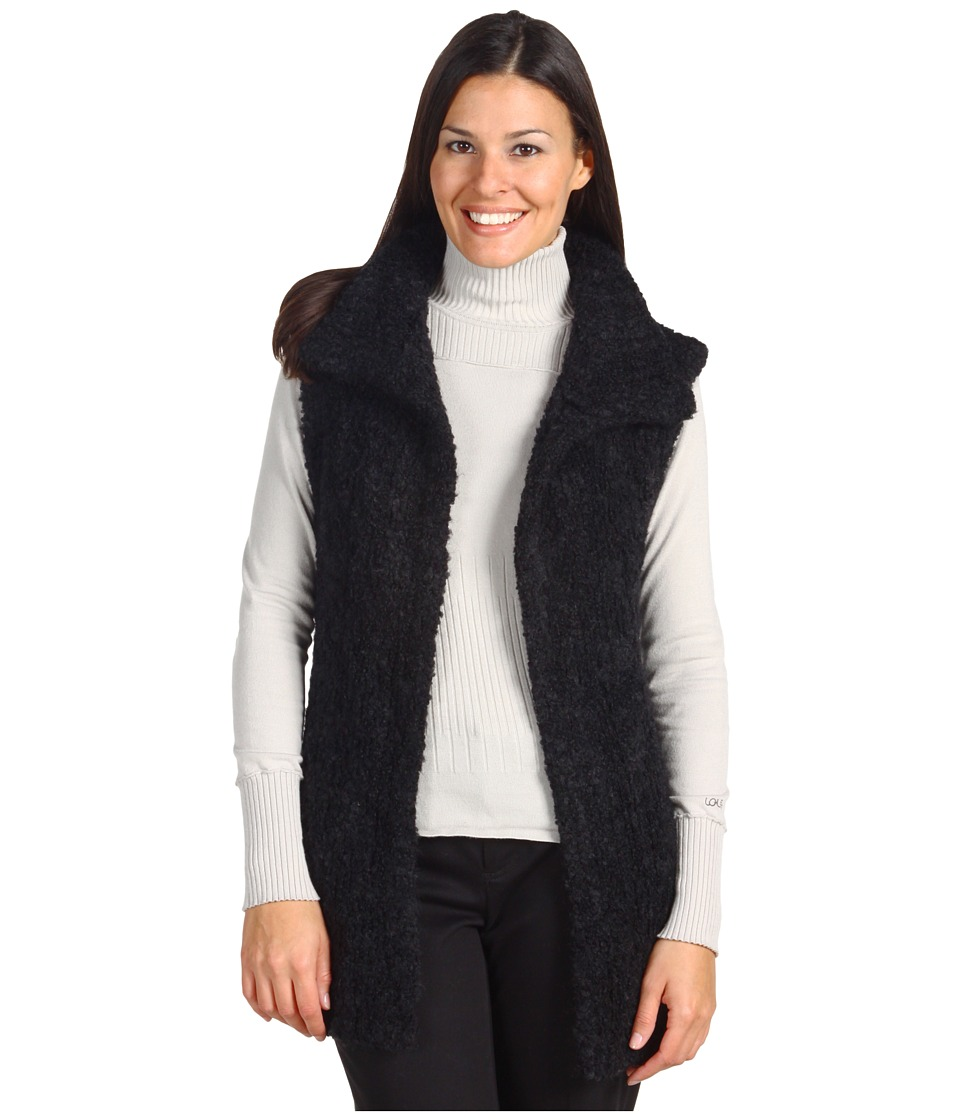 Adrienne Vittadini - Wool Blend Boucle Vest (Black) Women's Vest