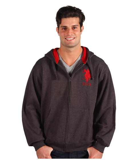U.S. POLO ASSN. - Full Zip L/S Hoodie Thermal/Fleece (Dark Grey) Men