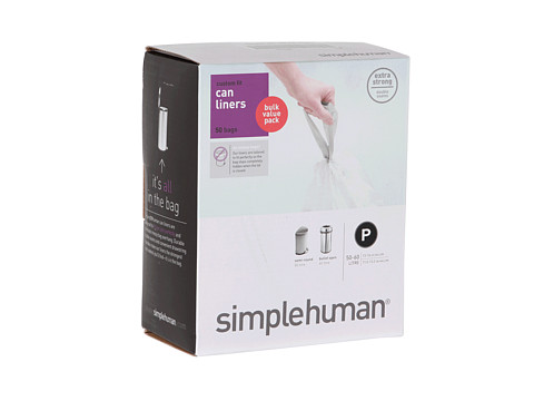 simplehuman - 50-60L - Code P Can Liners - 50 Pack (White) Individual Pieces Cookware