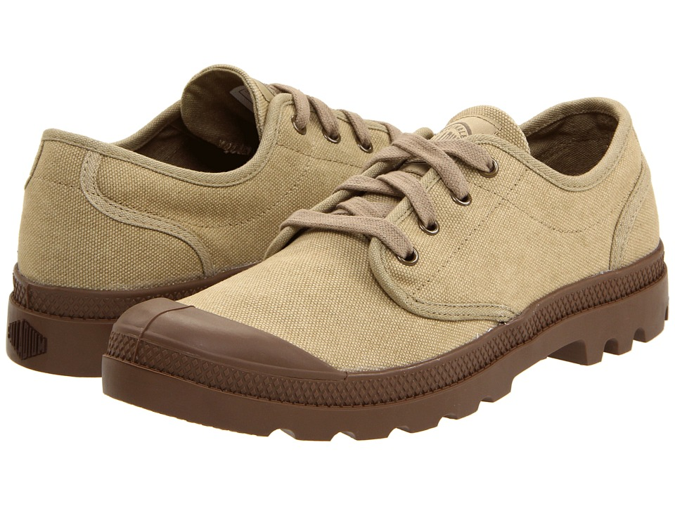 Palladium - Pampa Oxford (Stonewashed Dark Khaki) Men's Lace up casual Shoes
