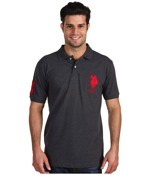 U.S. POLO ASSN. - Big Pony Polo II (Dark Grey Heather) Men's Short Sleeve Knit
