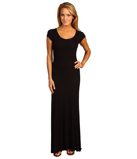 BCBGMAXAZRIA - Cap Sleeve Maxi Dress (Black) Women's Dress