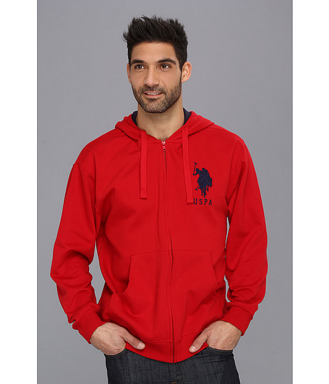 U.S. POLO ASSN. - Full Zip Long Sleeve Hoodie with Big Pony (Engine Red) Men