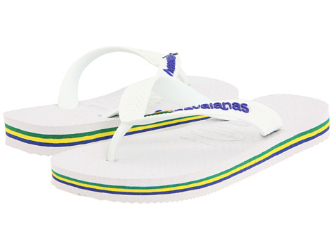 Havaianas Kids - Brazil Logo Flip Flops (Toddler/Little Kid/Big Kid) (White) Kid's Shoes