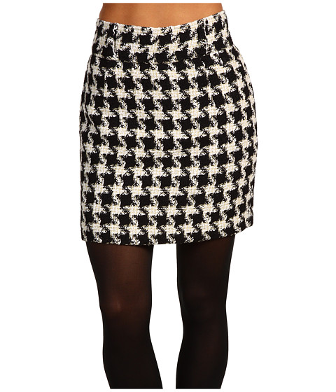 Fred Perry - Amy Winehouse Collection High Waisted Houndstooth Pencil Skirt (Black) Women's Skirt