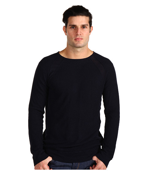 Vince - Double Raw Long Sleeve Crew (Coastal Blue) Men
