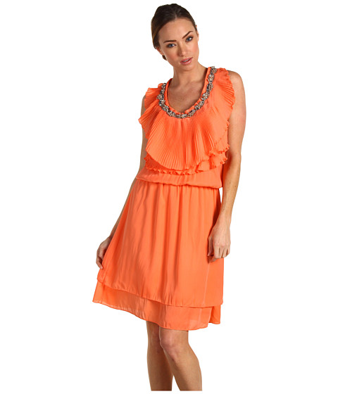 Robbi & Nikki - Beaded Pleat Ruffle Dress (Coral) Women