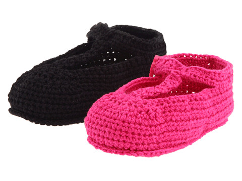 Jefferies Socks - T-Strap Mary Jane (Infant) (Hot Pink/Black) Girls Shoes