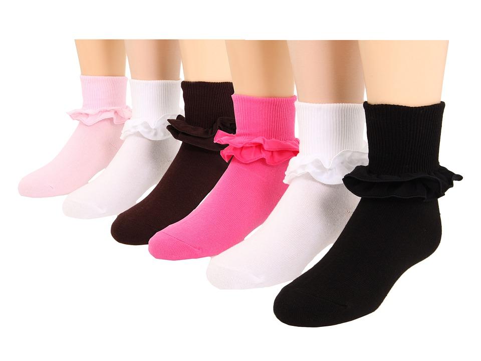 Jefferies Socks - Misty 6-Pack (Toddler/Little Kid/Big Kid) (Pink/Black/Chocolate/White/White/Bubblegum) Girls Shoes
