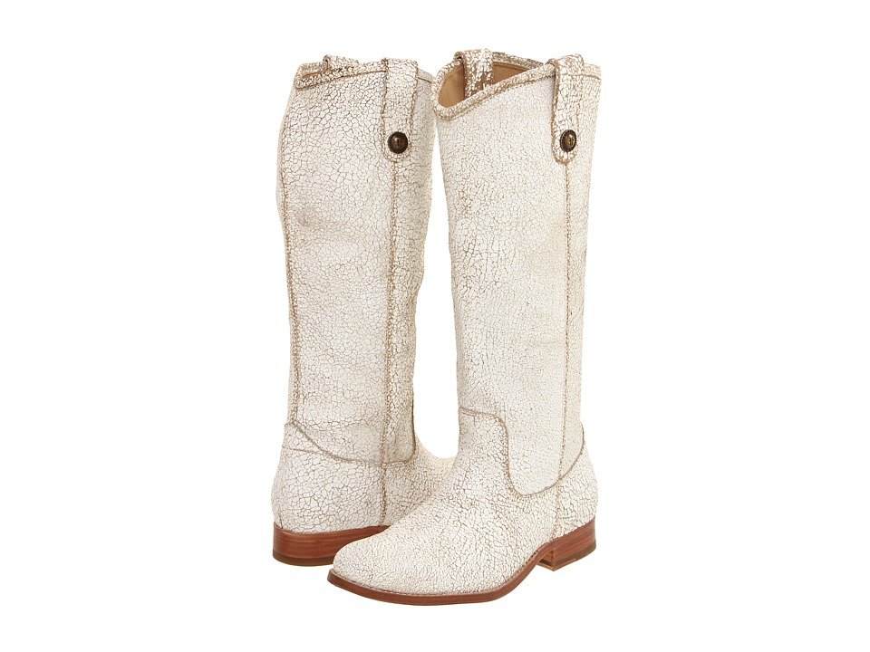 Frye Melissa Button (White (Cracked Leather)) Cowboy Boots