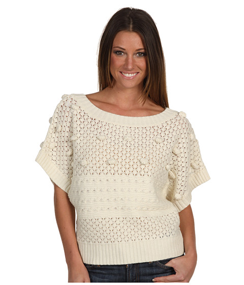 BCBGeneration - Mixed Stitch Crop Sweater (Canvas) Women