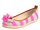 Juicy Couture - Gianna Striped Flats (Dark Natural/Neon Pink Hemp/Twill/Caramel Burnished Vachetta) - Footwear