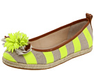 Juicy Couture - Gianna Striped Flats (Dark Natural/Neon Yellow Hemp/Twill/Caramel Burnished Vachetta) - Footwear