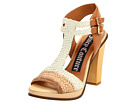 Juicy Couture - Crista Woven Double Buckle Heels (Natural/Eggshell/Caramel) - Footwear