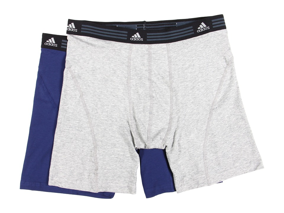 adidas - Athletic Stretch 2-Pack Boxer Brief (Heather Grey/New Navy) Men's Underwear