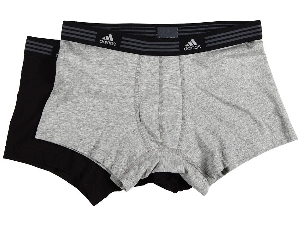 adidas - Athletic Stretch 2-Pack Trunk (Heather Grey/Black) Men's Underwear