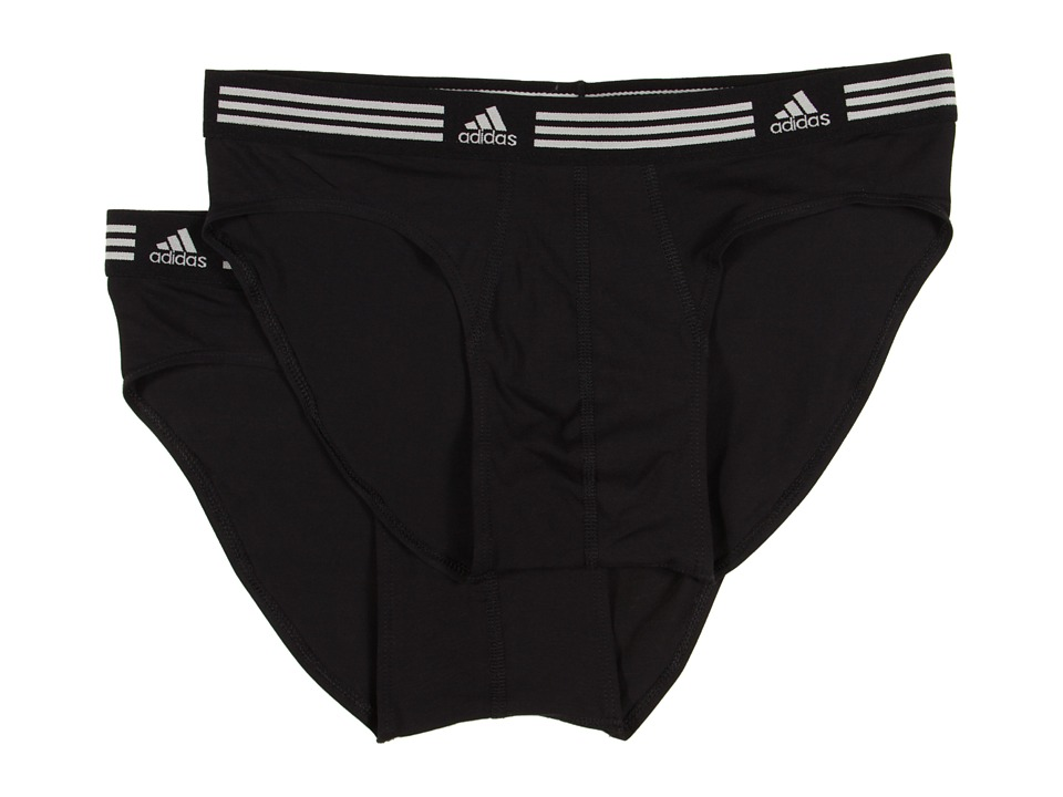 adidas - Athletic Stretch ClimaLite 2-Pack Sport Brief (Black/Black) Men's Underwear