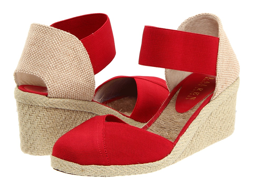 LAUREN Ralph Lauren - Charla (Red Elastic) Women's Wedge Shoes