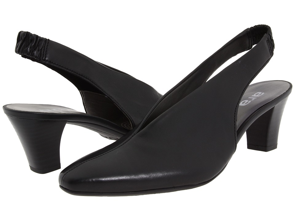 ara - Mona (Black Leather) Women's Sling Back Shoes