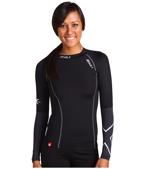 2XU - Elite L/S Compression Top (Black/Steel) Women's Workout
