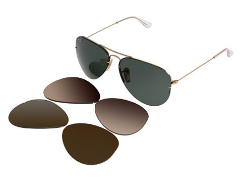 Ray-Ban RB3460 Flip Out Aviator with interchangeable lenses (Gold) Fashion Sunglasses