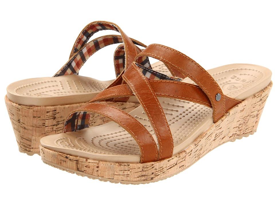 Crocs - A-Leigh Mini Wedge Leather (Cocoa/Cocoa) Women
