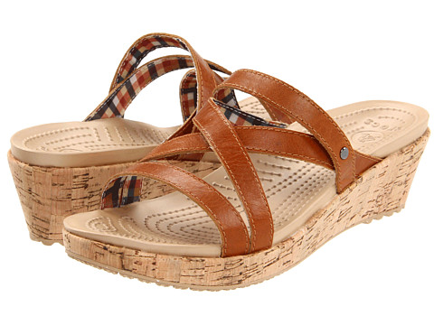 Crocs - A-Leigh Mini Wedge Leather (Cocoa/Cocoa) Women's Wedge Shoes