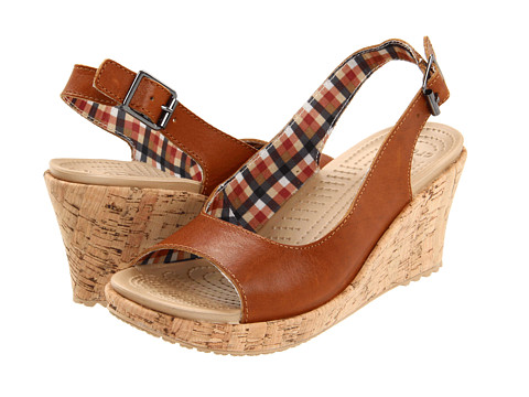 Crocs - A-Leigh Wedge Leather (Cocoa) Women's Shoes