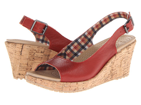 Crocs - A-Leigh Wedge Leather (Scarlet) Women's Shoes