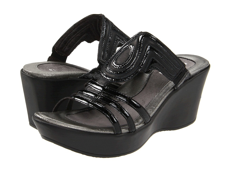 Naot Enchant (Black Raven Leather/Black Crinkle Patent Leather) Women