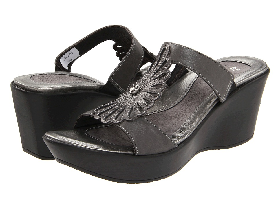 Naot Footwear - Fancy (Shadow Gray Nubuck/Metallic Road Leather) Women's Slide Shoes