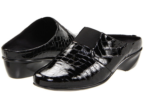 Walking Cradles - Tori (Black Croc Patent) Women's Clog Shoes