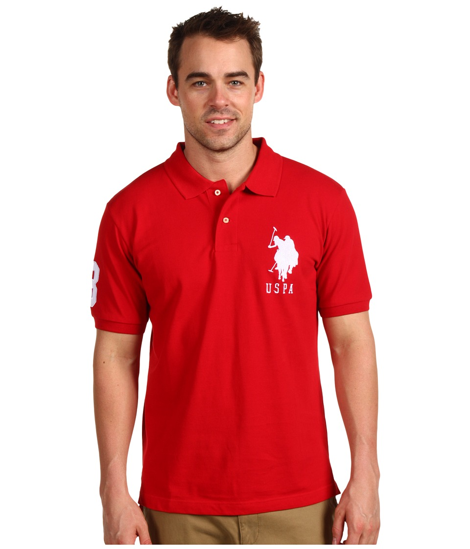 U.S. POLO ASSN. - Solid Polo with Big Pony (Red/White PP) Men's Short Sleeve Pullover
