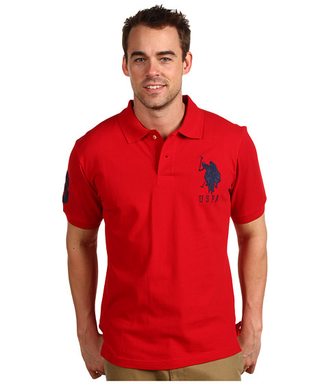 U.S. POLO ASSN. - Solid Polo with Big Pony (Red/Navy PP) Men