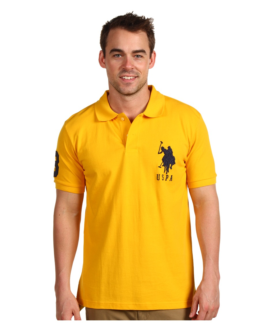 U.S. POLO ASSN. - Solid Polo with Big Pony (Yellow/Navy PP) Men