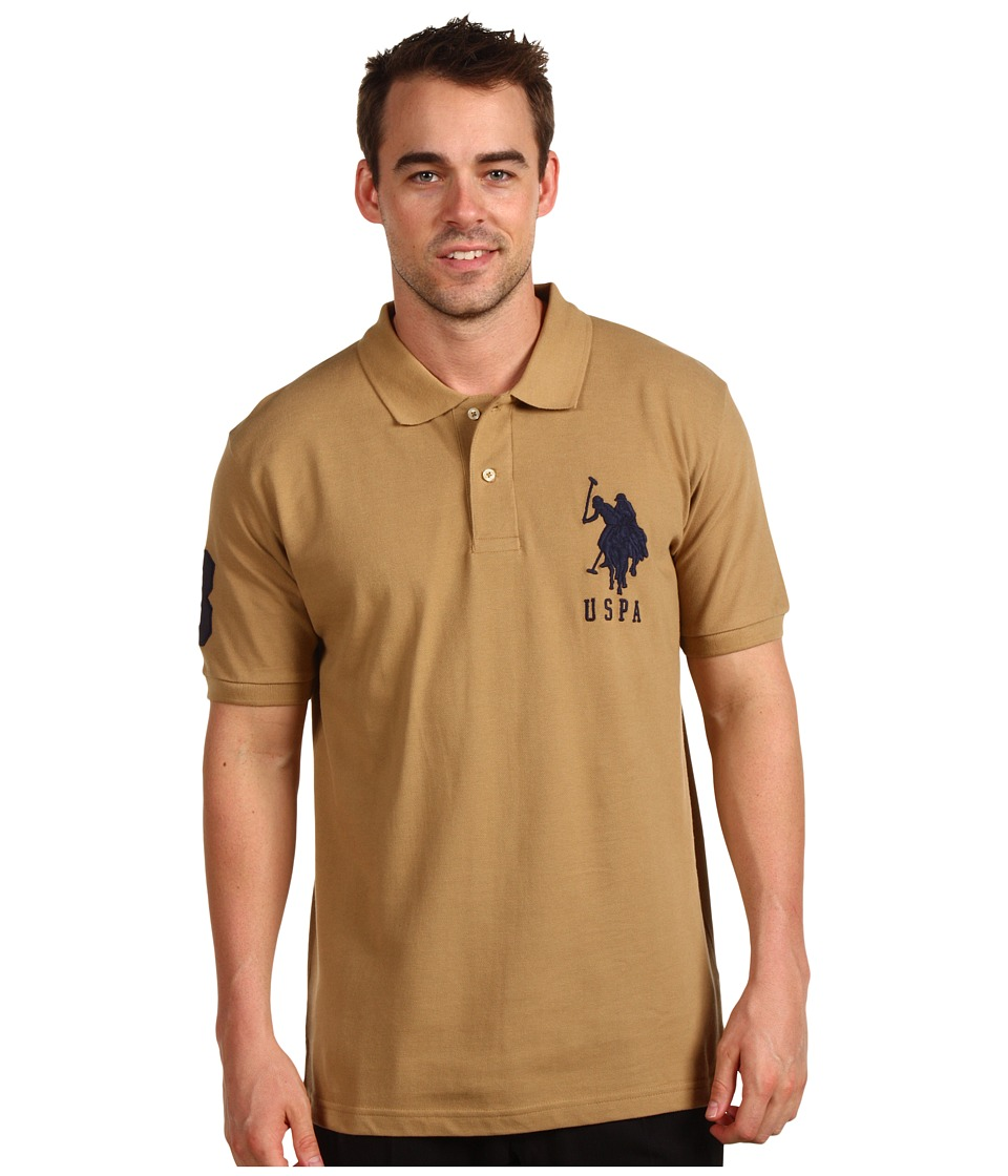 U.S. POLO ASSN. - Solid Polo with Big Pony (Warm Sand/Navy PP) Men's Short Sleeve Pullover