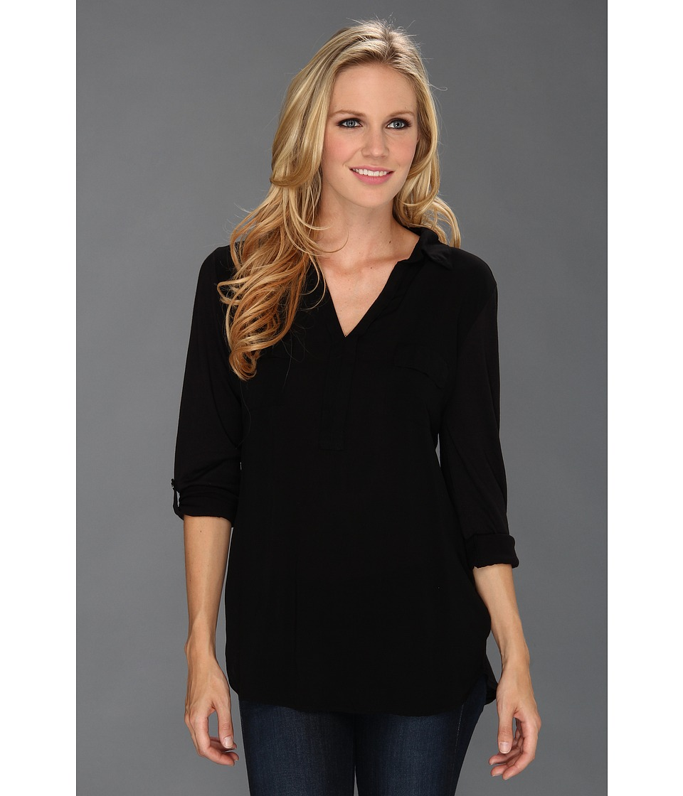 Splendid - Shirting L/S Collar Top (Black) Women's Blouse