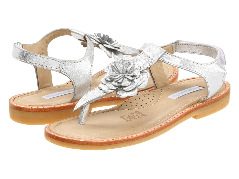 Elephantito - Thong Sandal W/ Flower (Toddler/Little Kid/Big Kid) (Silver) Girls Shoes
