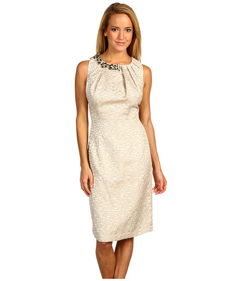 Max and Cleo - Gold Jacquard Beaded Dress (Gold) Women