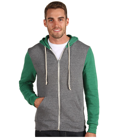 Alternative - Butler Hoodie (Eco Grey/Eco True Green) Men's Clothing